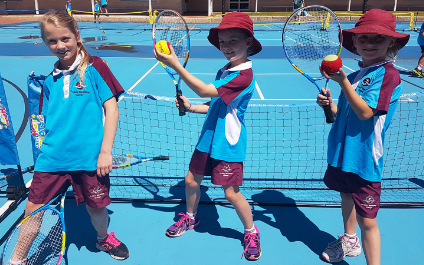 Tennis clinic with MacKillop Alumnus