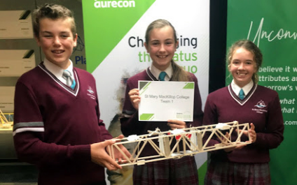 Year 9 students build bridges at Scitech