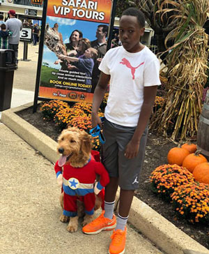 Isaac's son and puppy at Six Flags Amusement Park