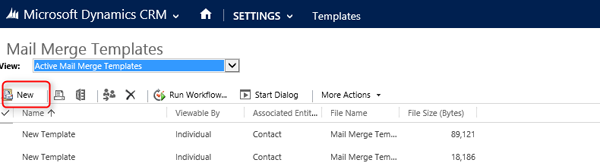 Microsoft dynamics crm creating mail merge templates part 1 name the template provide a description and associate the entity note associating the entity dictates for which entity you can perform a mail merge maxwellsz