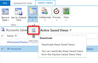 Deactivating Personal Views in Microsoft Dynamics 365