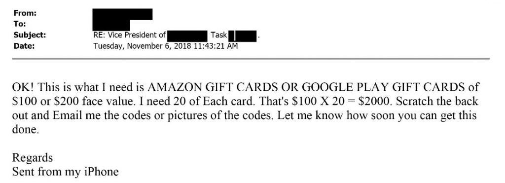 email of ceo fraud scam for fraudulent gift card purchases