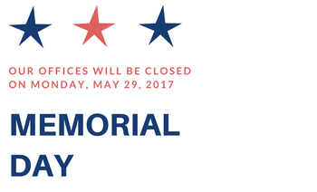 Offices Closed on Memorial Day 5/29
