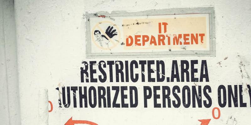 IT Support Department door. Restricted Access.