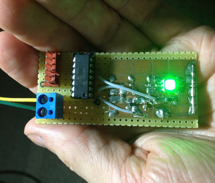 Early prototype of the LED Pin itself.