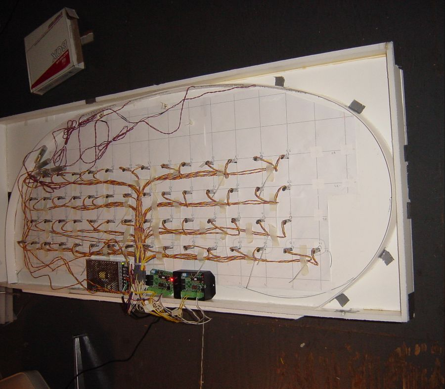 Breadboard mockup of the lighting control system underway.
