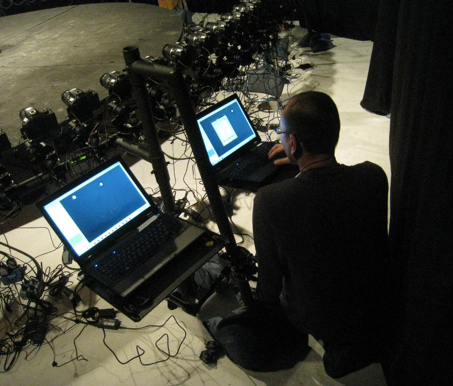A master computer configures and controls the system.