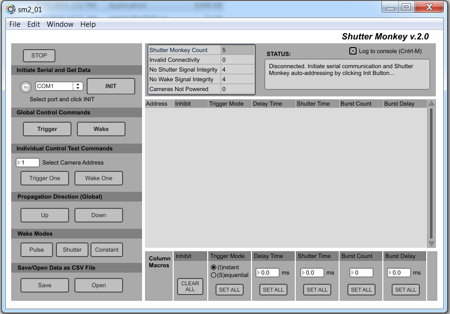 The SM user interface.