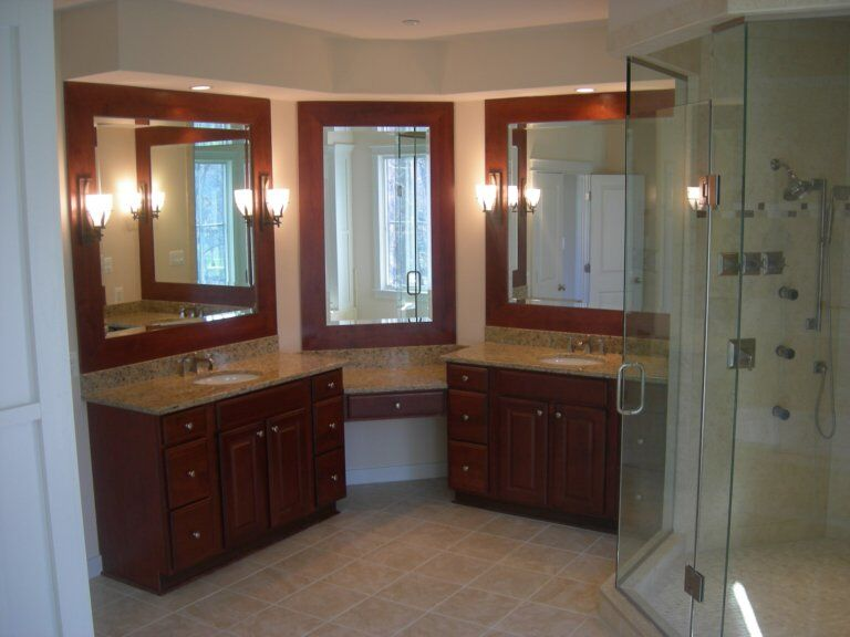 Bathroom Mirrors Set Into Wood Frames-min
