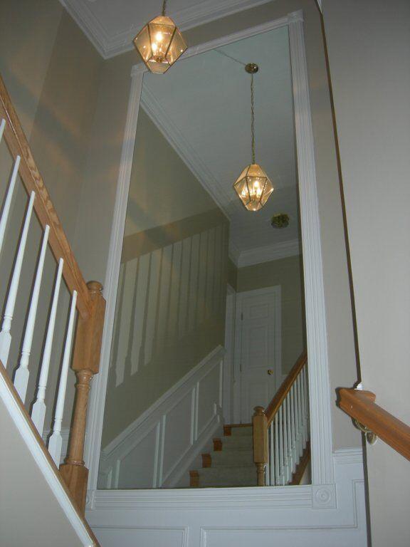 Custom Mirror in Stairwell Landing-min