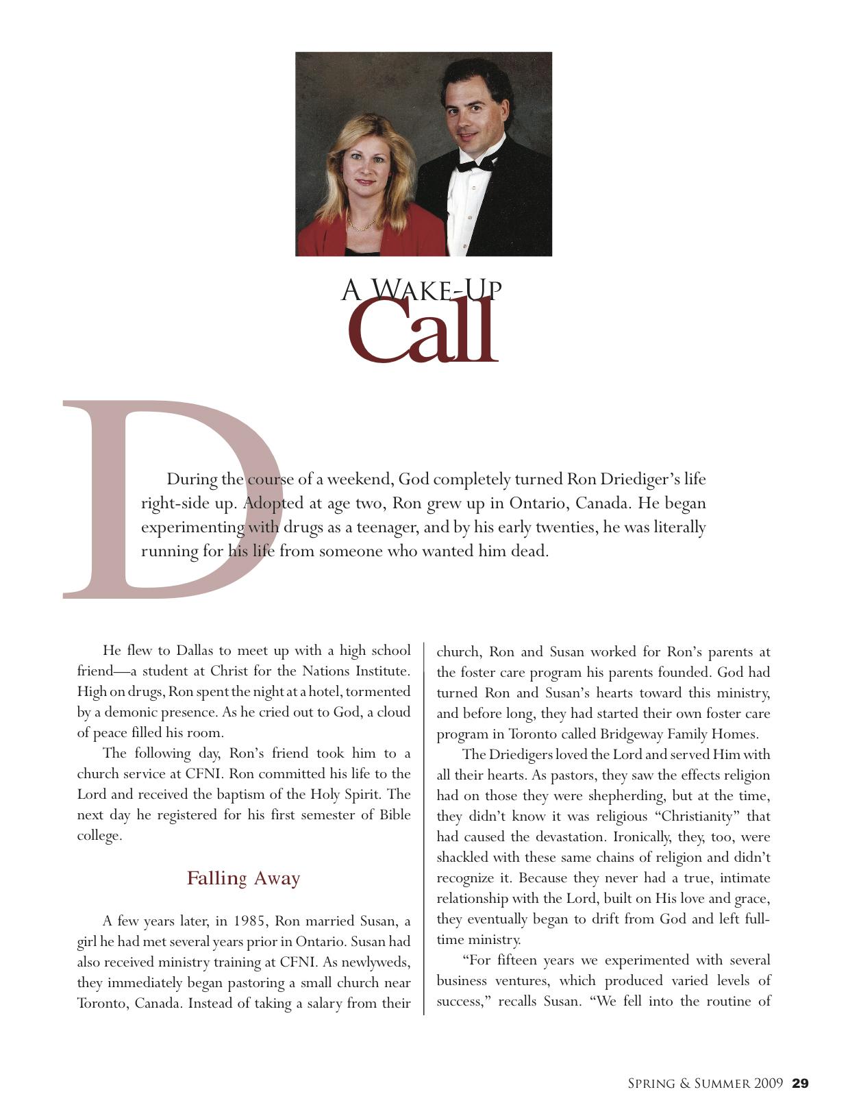 A Wake Up Call | Gospel Truth Magazine Spring/Summer 2009 | P 29