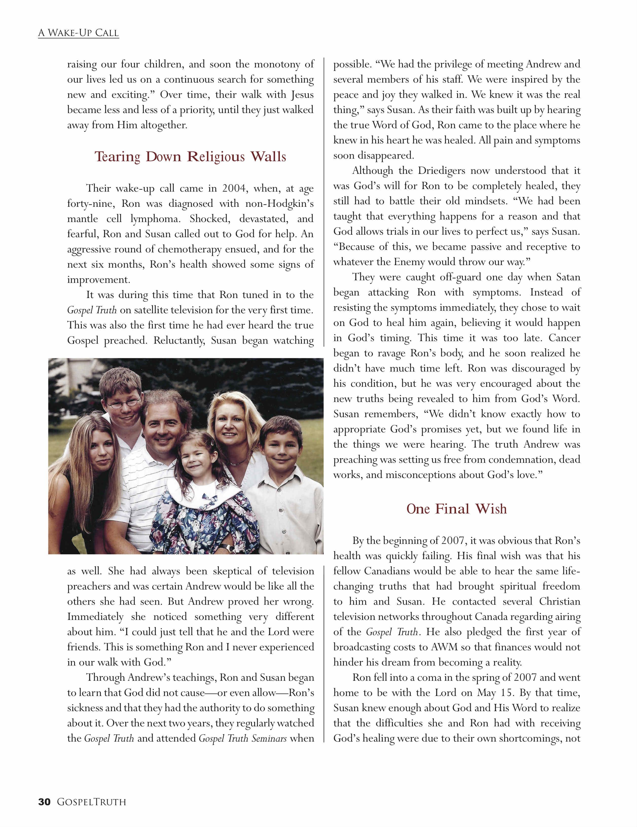 A Wake Up Call | Gospel Truth Magazine Spring/Summer 2009 | P 30