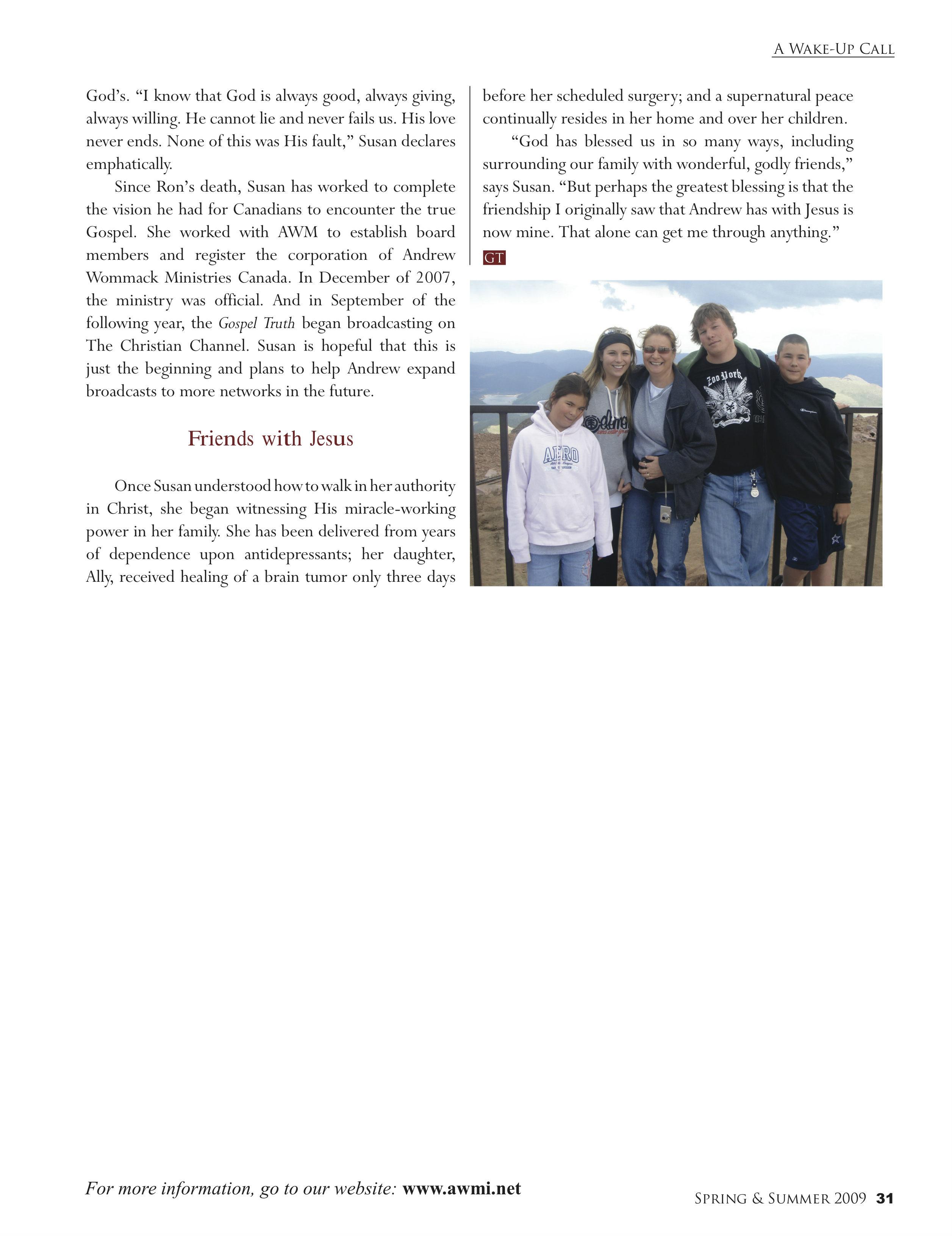 A Wake Up Call | Gospel Truth Magazine Spring/Summer 2009 | P 31