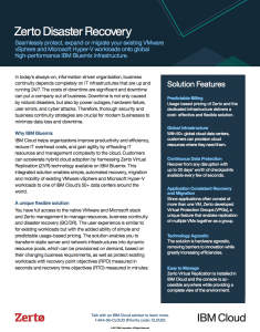 Deploy a disaster recovery solution quickly with IBM and Zerto