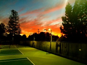 evening sunset at Almaden Swim & Racquet Club, San Jose
