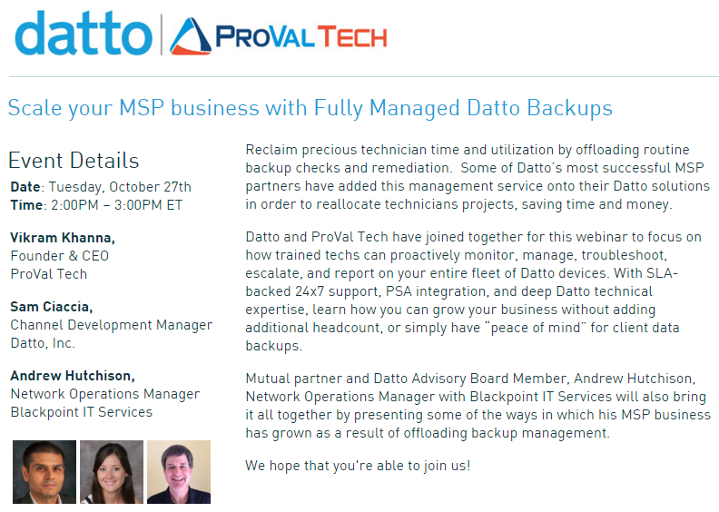 Event - Fully Managed Datto Backup