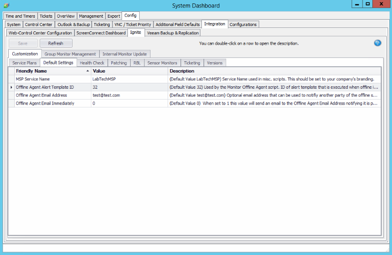 LabTech Offline Server Monitor ProVal Technologies Inc - Email dashboard template